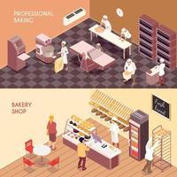 Bakery Isometric Banners Vector Illustration