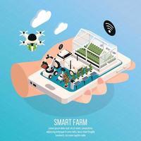 Smart Farm Composition Vector Illustration