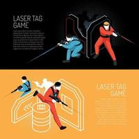 Laser Tag Isometric Banners Vector Illustration