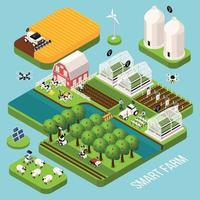 Smart Farm Isometric  Set Vector Illustration
