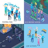 Protesting People Isometric Design Concept Vector Illustration