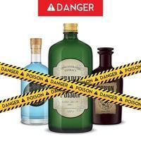 Dangerous Bottles Poison Poster Vector Illustration
