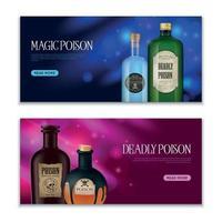 Poison Horizontal Banners Set Vector Illustration