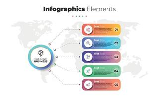Modern infographics elements. 5 steps timeline with icons and level. Vector illustration