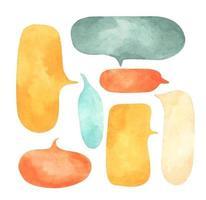 conjunto de burbujas de discurso. Ilustración acuarela. vector
