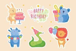 Happy birthday stickers Cute animals celebrating together Rabbit koala rhino snake lion Holiday decoration present cake Vector illustration for children
