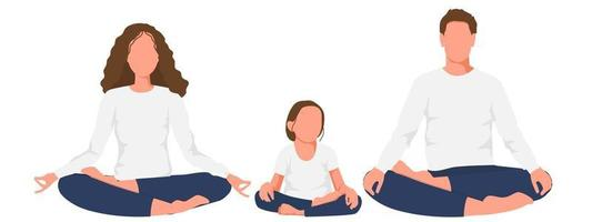 Mother, father, and daughter sitting in lotus pose isolated on the white background. Vector illustration