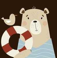 Cute bear with seagull and circle of life. Vector illustration. Childrens poster with cute animals