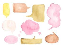 conjunto de burbujas de discurso sobre fondo blanco. Ilustración acuarela. vector