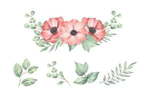 Set of floral branch. Wedding concept with flowers. vector