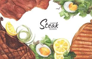 Grilled beef steaks and salad with boiled eggs, Top view with copy space for your text. Flat lay. Watercolor illustration. vector