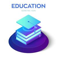 Graduation cap and books. 3D isometric Student hat with books icon. E-learning concept. Innovative online education. Distance graduate certificate program. Academic study. vector