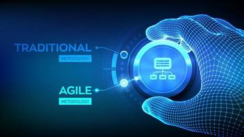 Agile software development methodology concept. Wireframe hand turning a knob and selecting Agile mode. Digital technology, big data concept. Flexible developing process. vector