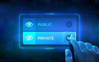 Public or Private choice concept. Making decision. Public-private partnership. Data management. Wireframe hand on virtual touch screen ticking the check mark on private button. vector