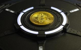 Gold Bitcoin electronic computer processor board photo