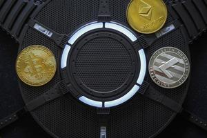 Bitcoin, Litecoin and Ethereum Cryptocurrency coins photo