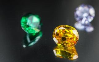 Collection of many different natural gemstones photo