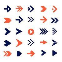 arrow  icon collection, flat design pointer cursor Infographic icon arrow pack collection set Vector