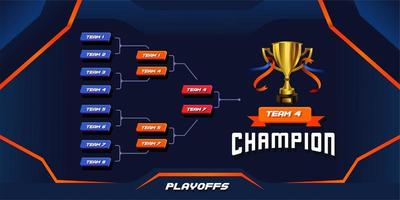 modern sport game tournament championship contest stage bracket board vector with gold champion trophy prize icon illustration background in tech theme style layout.