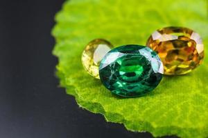 Yellow and Green gemstones close-up photo