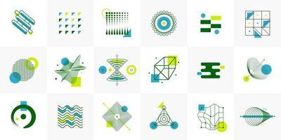 Formas de icono de vector geométrico de semitono de tendencia universal con composición de elementos de colores brillantes. elementos de diseño para revista, folleto, cartelera, venta