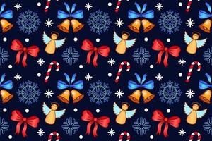 Christmas seamless pattern. Repeating vector textile pattern. Design with candy, snow flakes, angels and bells on blue background. For New year textile, cover, wrapping paper, banner design