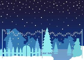 Vector snowfall illustration. Winter outdoor with Christmas threes, houses and decorative lights. Copy space Marry Christmas. Snow flakes falling on the city