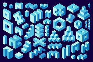 Representación 3D. formas isométricas, elementos de diseño. conjunto de construcciones isométricas simples. elementos decorativos de diseño vectorial vector