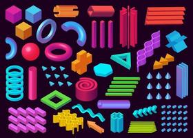 Vector memphis design elements, 3D rendering. Set of different shapes and different details as cylinder, cone, cube, circles, waves. Memphis collection, three dimensional isolated on purple background