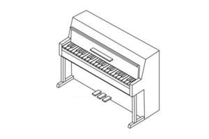 Ilustración de vector de teclas de piano. delinear la ilustración en blanco y negro con líneas negras.