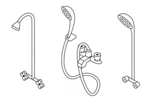 Shower illustration set. Collection of isometric outline shower illustration with black thin line isolated on white background. vector