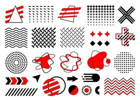 red and black Memphis set, vector collection of abstract geometric flat shapes, circle, arrows, amoeba, dot gradient, waves, zigzags, fireball, isolated on white background