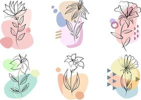 Floral design set. Collection of vector floral composition, with line art flowers and flat colorful shapes isolated on white background. Designs for printing on clothes, mugs, pillows, calendars etc