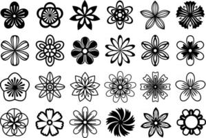 Vector floral set. Collection of black flat floral illustrations. Abstract stylizet cut out flowers. Comfortable for cut and silhouette crafts