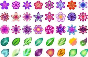 Colorful floral set. Collection of colored stylized flowers and leaves. Floral design elements. vector