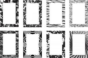 Black vector rectangle frames. Collection of grunge textured frames isolated on white background. Borders for images or text, copy space
