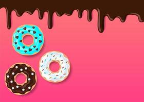 Vector donut illustration,melting chocolate on pink background, copy space illustration for your text, assortment doughnut with shadow on pink orange backdrop