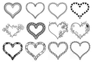 Heart frames. Collection of black outline ornate heart frames isolated on white background. Abstract shapes and patterns. vector