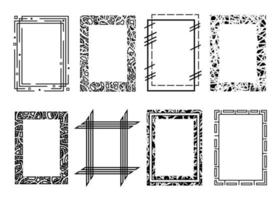 Black vector rectangle frames. Collection of grunge textured frames isolated on white background. Borders for images or text, copy space.