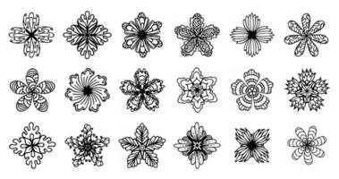 vector black flowers, outline cut out, stylized decorative floral set, isolated on white background, orate, ornamental flower collection, for your design projects as logo, label, flyer, banner