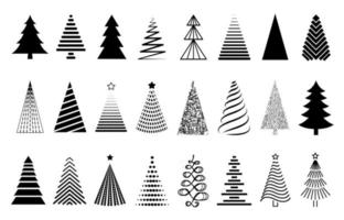 Vector black Christmas tree set. Collection of decorative stylized Christmas tree isolated on white background. Abstract decorations, design elements.