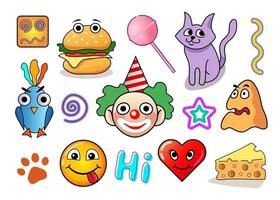 set of funny stickers, vector collection of colored characters, clown, heart, smiling face, cat, bird for your design and social media isolated on white background