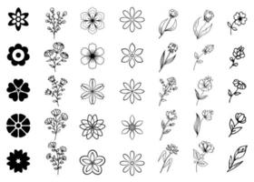 Different style vector floral set. Black outline stylized flowers isolated on white background. Collection of decorative floral design elements