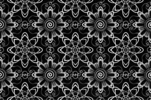 patrón de repetición sin costuras abstracto, blanco y negro, patrón de repetición floral monocromo, textil mandala vector