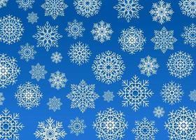 Snow flakes background, white snowflakes on blue background. New Year background, random size flakes, different symmetric patterns vector