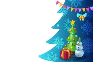 Christmas decoration copy space. Background for text with snowman, snowflakes and Christmas tree. 3D rendering vector