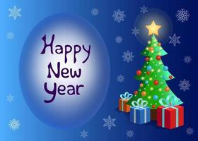 Happy new year lettering. Vector Christmas illustration. Christmas tree with presents and gifts. Postcard, banner design illustration on blue background with snowfall.
