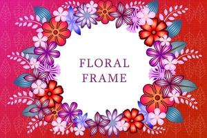 Floral frame. Circle frame with different flowers and leaves, empty space for your text. Circular white Copy space. For, invitations, postcards, greeting cards etc. vector