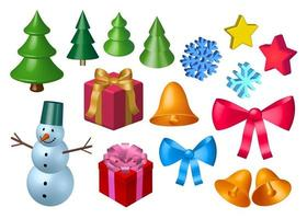 Vector 3D rendering Christmas decoration set. Collection of New year design elements as bells, ribbons, snow flakes, gifts, Christmas trees, snowman. 3D illustration isolated on white background.