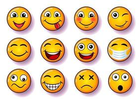 set of smiles, vector collection of smiling faces in yellow color, with pink shadow and gradient, funny faces illustration for social media, for your design